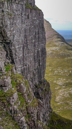 A closer view, with myself following and Adam Russell belaying on what was to become Land of the Lost and Found (E7)